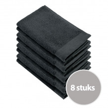 Walra Soft Cotton Voordeelpakket Gastendoekjes Antracite - 8 stuks